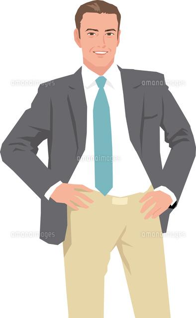 腰に手を当てる中高年ビジネスマン11002068433の写真素材イラスト
