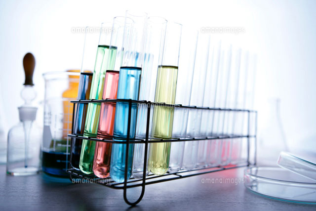 Liquid filled test tubes in rack