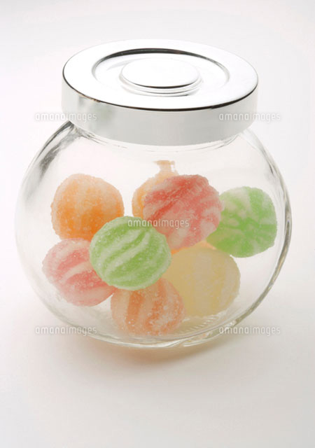 Jar of coloured hard candies