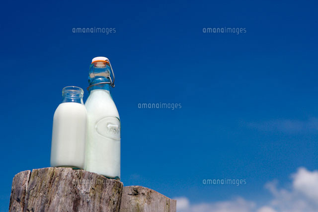 Milk in glass bottles on wood