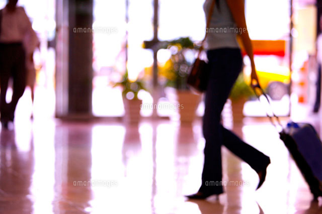 Commuters walking in lobby