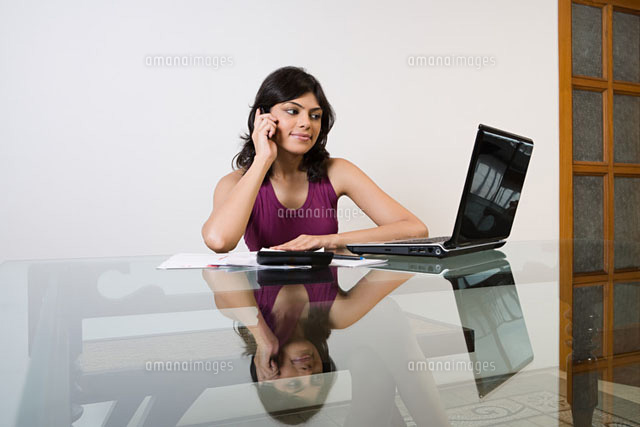 A woman sorting out her finances