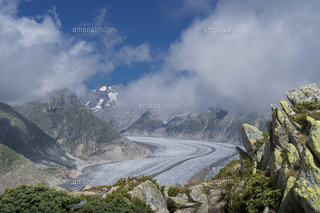 Snow in remote mountain landscape