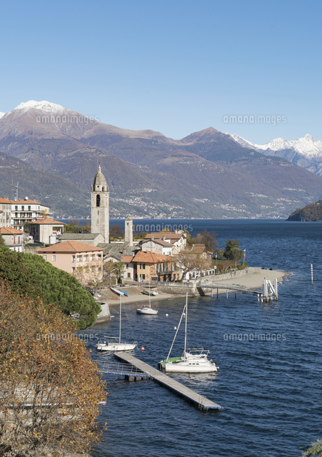 Scenic view of waterfront, Lake Como, Italy
