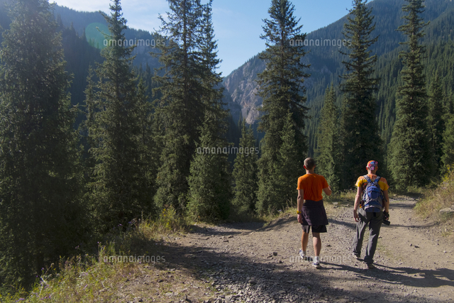 Caucasian men hiking on path in mountains