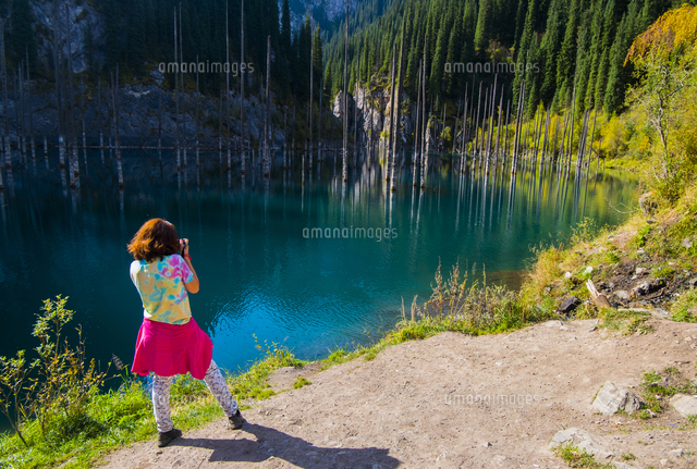Caucasian woman photographing trees in lake