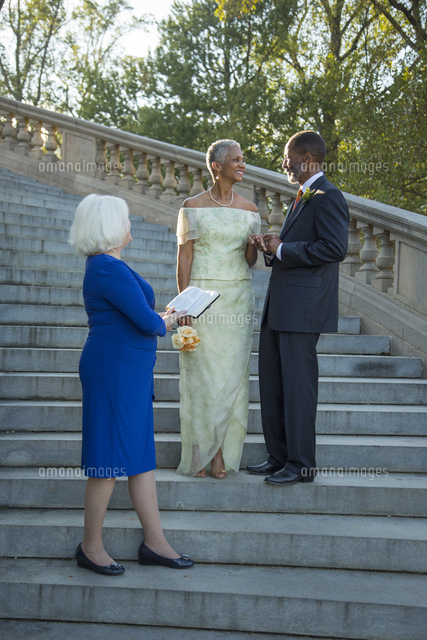 Wedding ceremony on stone staircase