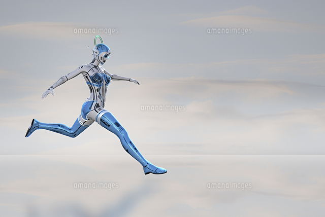 Female robot running and jumping