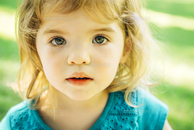 Portrait of serious Caucasian preschool girl