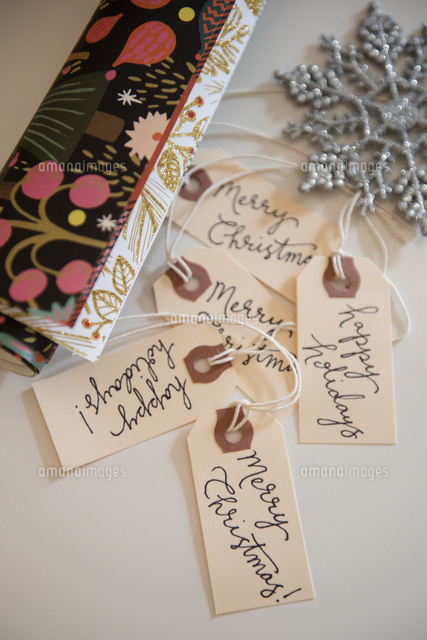 Wrapping paper, tags and Christmas ornament