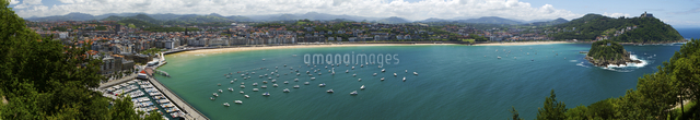 Panoramic view of harbor and bay, San Sebastian, Basque Autonomous Community, Spain
