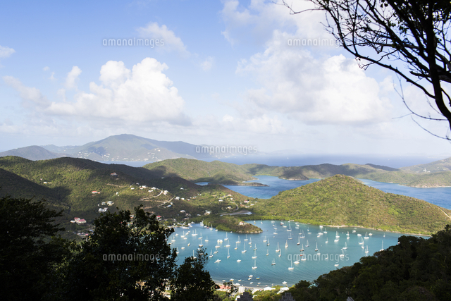 Aerial view of sailboats in Sanders Bay, Charlotte Amalie, Saint John, United States Virgin Islands