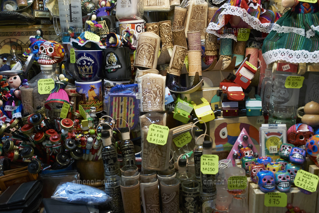 Price tags on souvenirs in shop in Guadalajara, Jalisco, Mexico