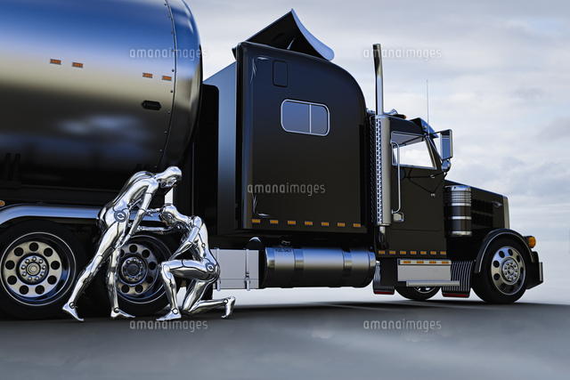 Robots checking wheel of truck