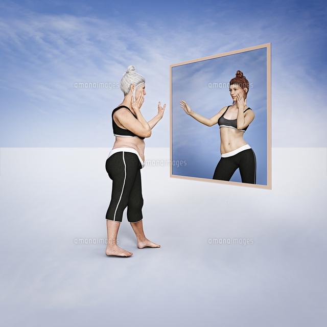 Older woman admiring image of younger woman in virtual mirror