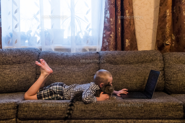 Caucasian boy laying on sofa with cat using laptop