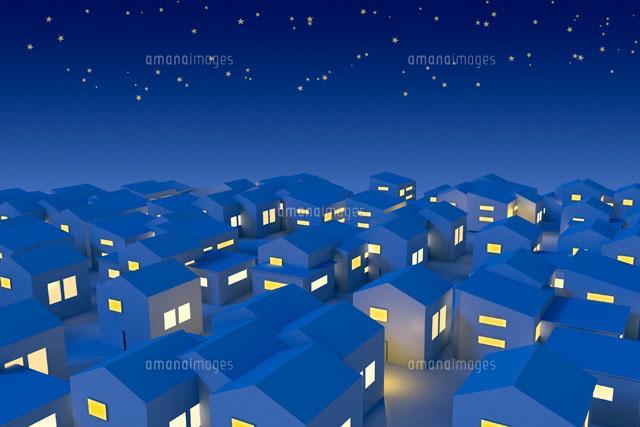 夜の住宅街イメージ Cg11019023819の写真素材イラスト素材アマナ