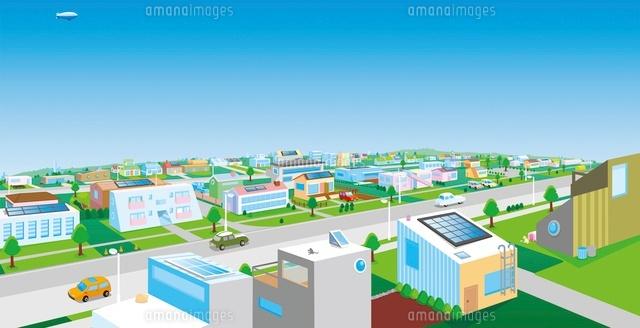 住宅街と青空 イラスト11019024290の写真素材イラスト素材アマナ