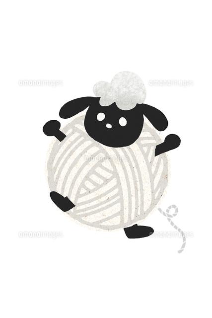 毛糸玉の羊 白 イラスト11019031256の写真素材イラスト素材アマナ