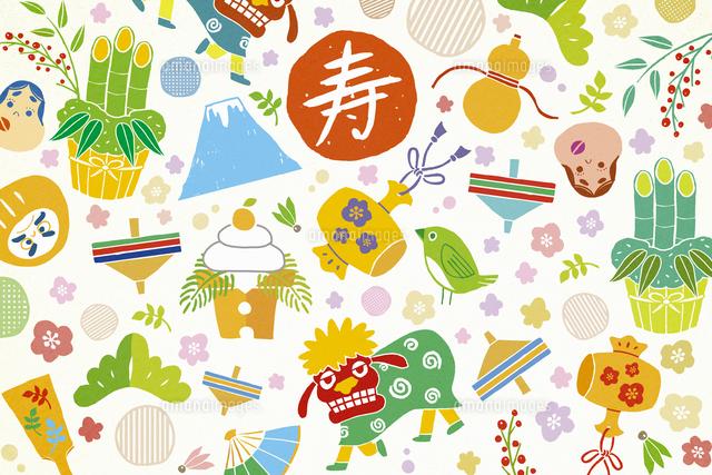 獅子舞や鏡餅の正月アイテム イラスト[11019033212]の写真素材