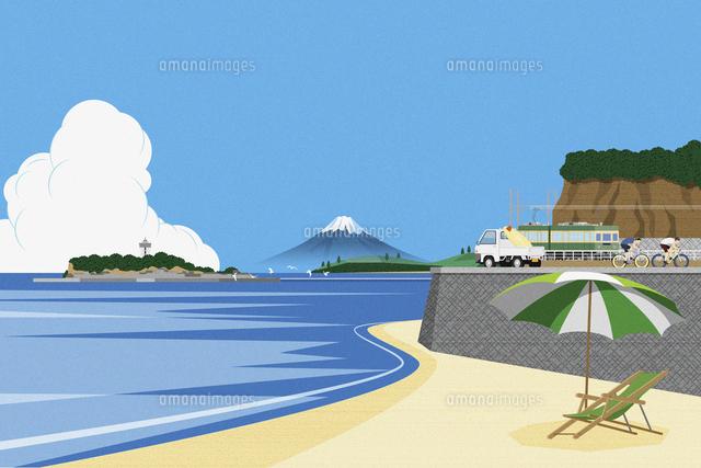 海と江ノ島と富士山 イラスト11019034047の写真素材イラスト素材