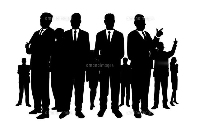 様々なポーズをとるビジネスマンとビジネスウーマンのシルエット Cg