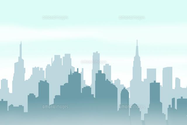 高層ビル群のシルエット Cg11019037209の写真素材イラスト素材