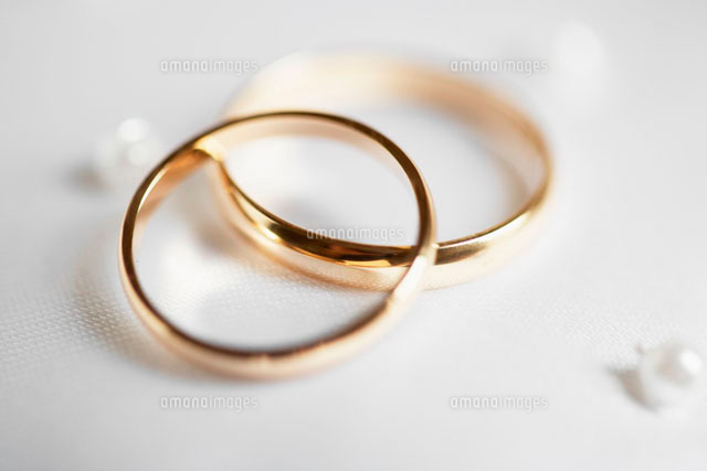 Close-up of two wedding rings