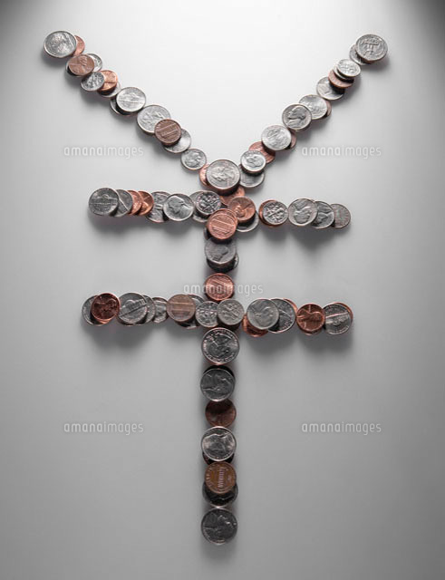 Yen Sign Made of US Coins