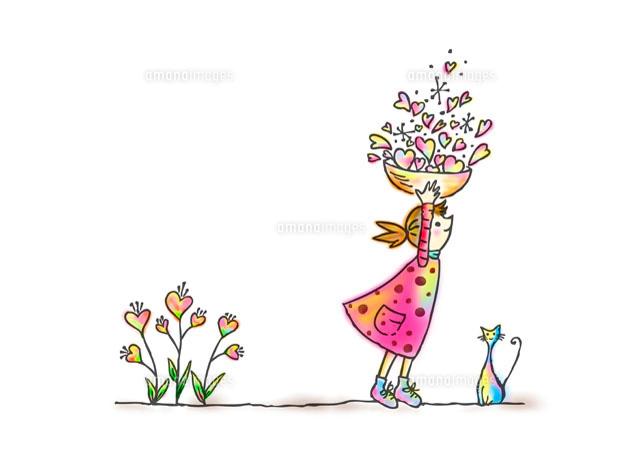 女の子と花とネコ11026004640の写真素材イラスト素材アマナイメージズ