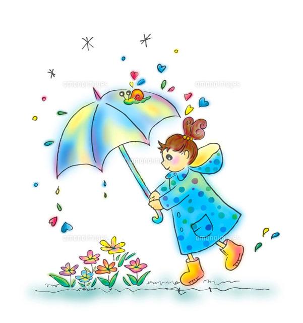 花に傘をさしかける女の子11026004657の写真素材イラスト素材