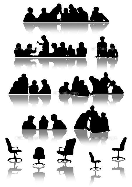 色々な会議の様子 シルエット11026004850の写真素材イラスト素材
