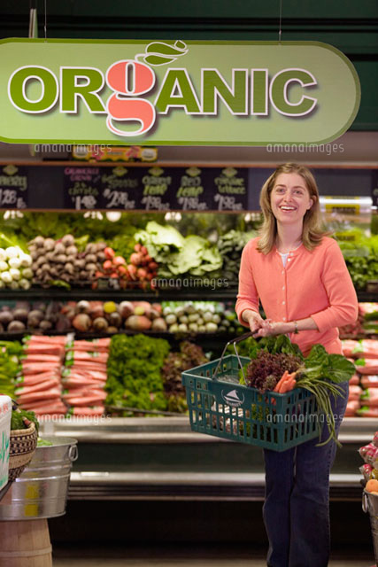Woman shopping in organic grocery store