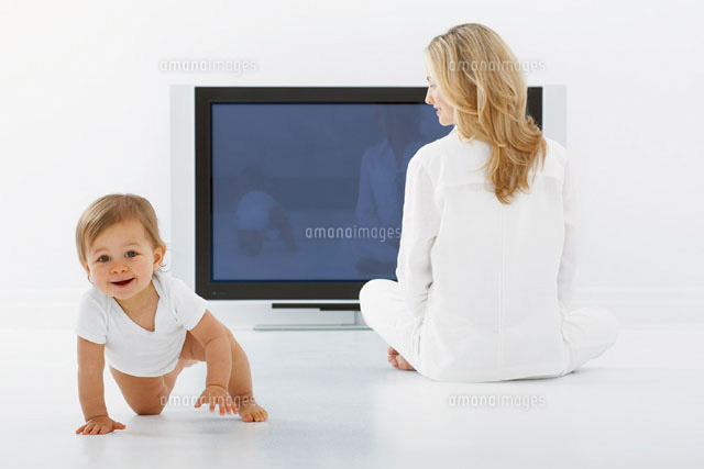 Mother and Baby with Television