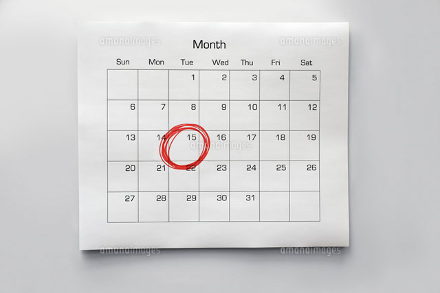 Calendar with 15th Circled