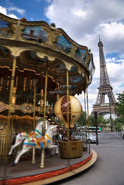 Carousel and Eiffel Tower, Paris, France