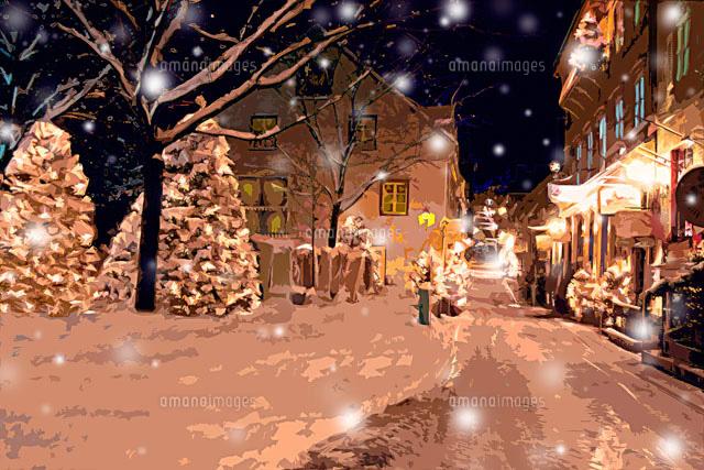 クリスマスツリーのある雪のケベックの街並み Cg11065000095の写真素材