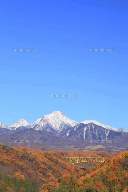 紅葉の八ヶ岳高原大橋と八ヶ岳に新雪11076021274の写真素材イラスト