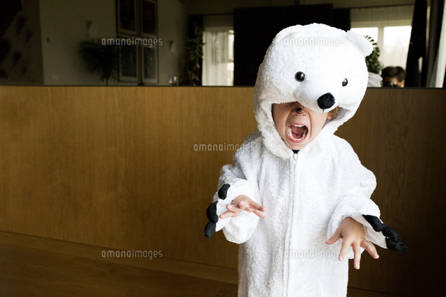 作品番号:11115000732  作品タイトル:Boy Wearing Polar Bear Costume At Home