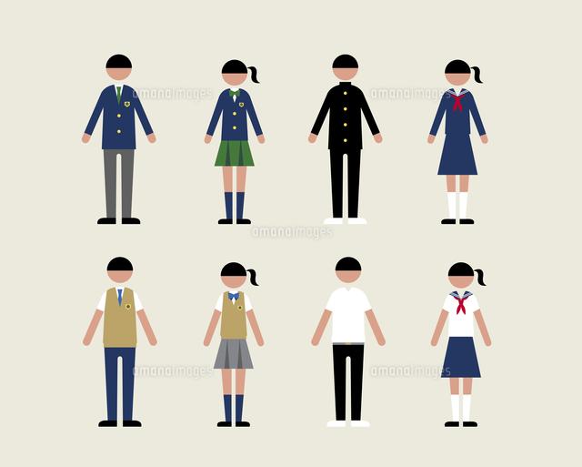 人物 いろいろな学生服 の写真素材 イラスト素材 アマナイメージズ