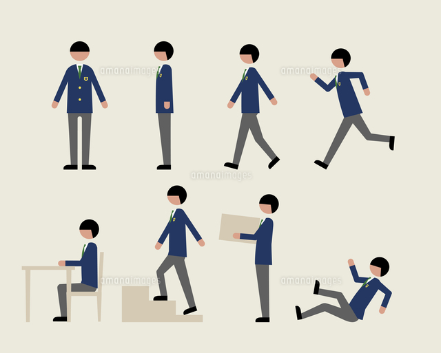 ブレザー服の男子 いろいろな行動 の写真素材 イラスト素材 アマナイメージズ