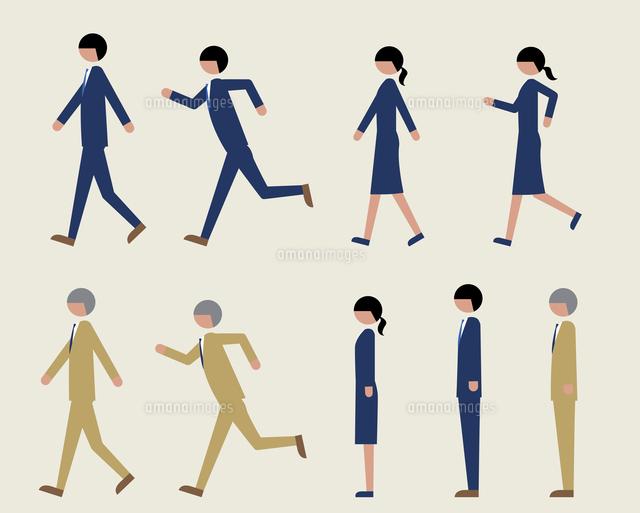 ビジネスマン歩く走る横60000000174の写真素材イラスト素材