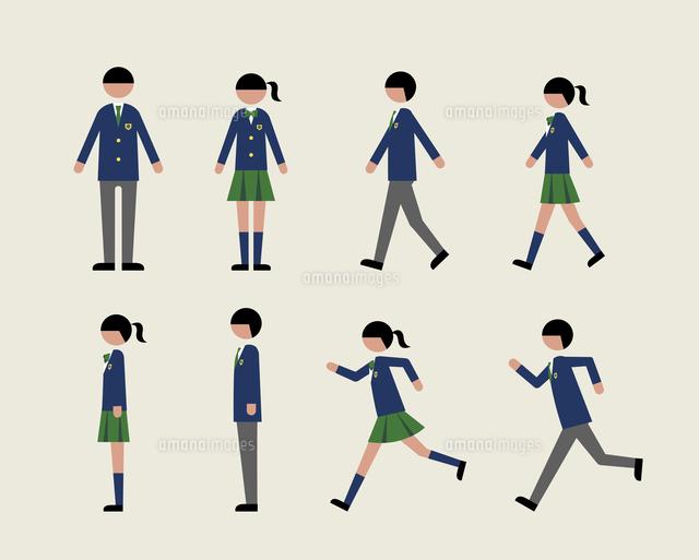 ブレザーの学生歩く走る横60000000181の写真素材イラスト