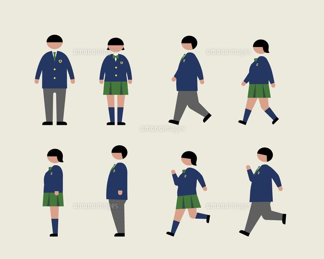 肥満の学生歩く走る横60000000224の写真素材イラスト素材