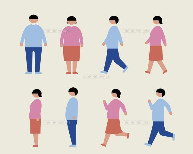 肥満の男女歩く走る横60000000225の写真素材イラスト素材