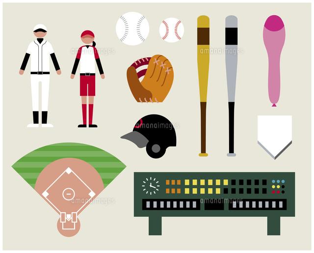 野球ソフトボールセット60000000279の写真素材イラスト素材アマナ