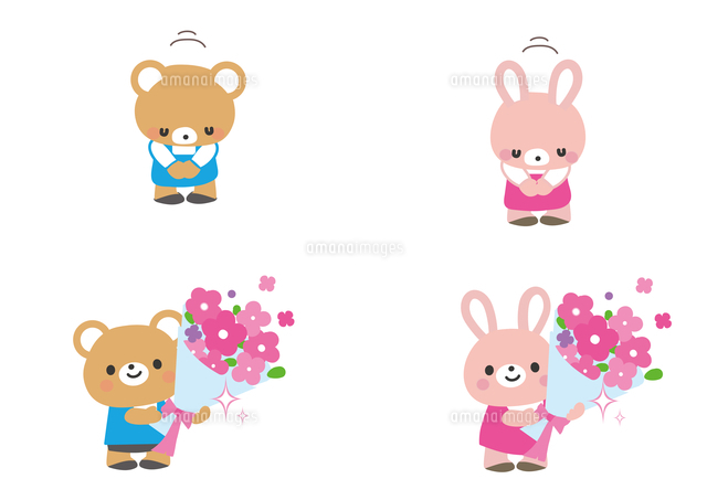 お辞儀と花束 クマ君とウサギさん60002000051の写真素材イラスト素材