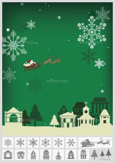 クリスマス 街並み グリーン60003000078の写真素材イラスト素材