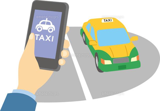 スマホでタクシー配車60008000535の写真素材イラスト素材アマナ