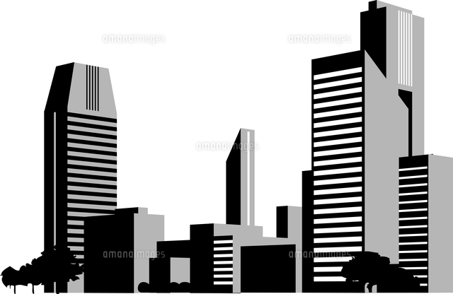都会のビル群のシルエット[60009000040]の写真素材・イラスト